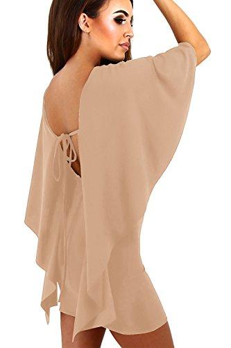 Damen elegante Rückenfreies Mini Cocktailkleid Apricot