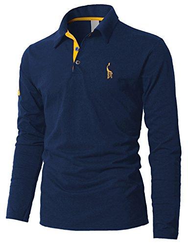 Boom Fashion Poloshirt Herren Langarm Einfarbig Polo Kragen Freizeit für Männer Blau XL