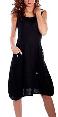 Flying Rabbit Women's Dresses Linen Sleeveless with Beautiful Details Summer Dress (m, black)
