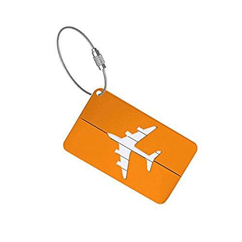 Leisial 2 Stück Kofferanhänger Gepäckanhänger Namensschilder aus Aluminiumlegierung-Orange