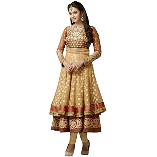 Anarkali ( Shoponbit Dark Beige & Brown Color Georgette With Net Anarkali Suit )