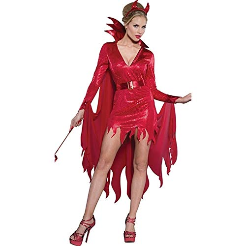 Kostüm Masquerade Vampir - LCTS Halloween Kostüm Cosplay Red Vampire Devil Kostüm Stage Dress Masquerade Halloween Party Kostüm,XL