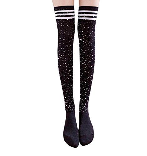 Streifen Overknee Socken,ZEZKT 1 Paar Blickdichte Strumpfhose Feinstrumpfhose in trendigen Farben für Frauen (Schwarz)