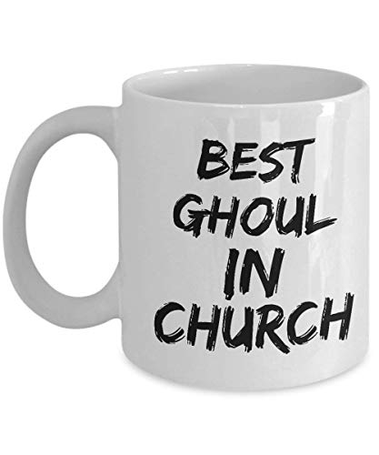 Ghul-Kaffeetasse - bester Ghul in der Kirche - weiße keramische Teetasse - großes Geschenk für Halloween