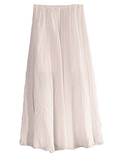 Frauen Baumwolle Leinen Layer elastische Taille langen Langer Rock Maxi Rock Weiß