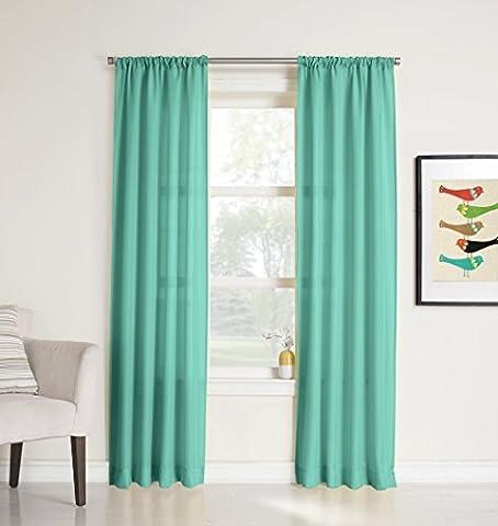 No. 918 Marley Semi-Sheer Rod Pocket Curtain Panel, 40 x 63 Inch, Pool Green by No. 918