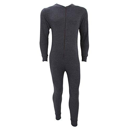 Floso® Herren Thermo-Unterwäsche/Thermo-Overall mit Reißverschluss (Brustumfang: 112-117 cm (XL)) (Anthrazit)
