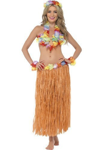 Damen 5 Stück Sexy Hawaii Hula Honigfarbene Mädchen Sommer Luau Party BH Rock Lei Kostüm Kleid Outfit Satz
