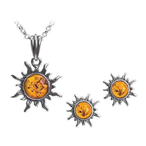 Miel ámbar de plata de ley Collar con colgante en forma de sol Juego de pendientes de 46 cm