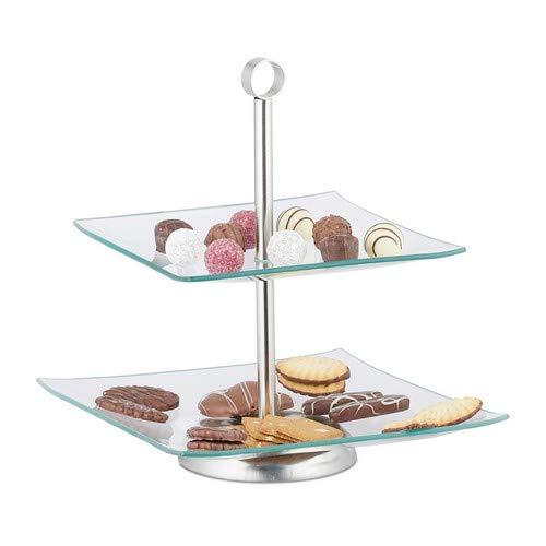 Relaxdays Etagere, 2 stöckig, eckig, Cupcake, Kekse, Obst, Muffin, Servierständer, Glas, Edelstahl, silber/transparent