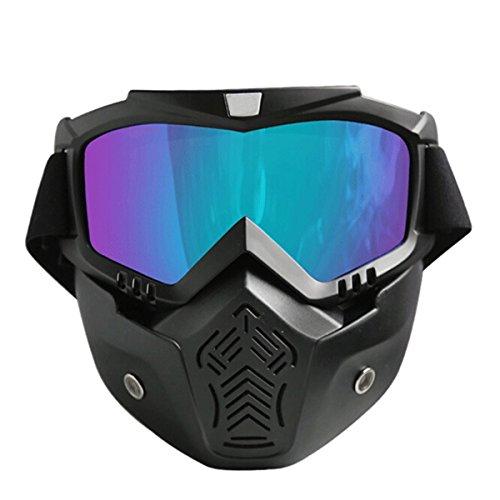 Butterme Motorrad-Schutzbrille-Maske Abnehmbare, Harley-Art Anti-Nebel-winddichte Motorrad-Schutzbrillen im Freien reiten abnehmbare modulare Gesichtsmaske Schild-Schutzbrillen