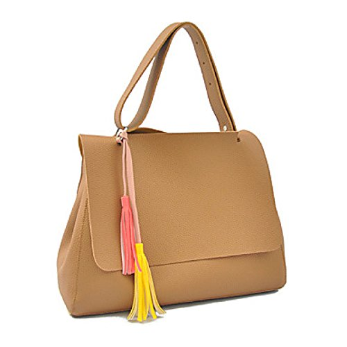 DFUCF Damen PU Büro Beruf Umhängetasche Kuriertasche Handtasche Umhängetasche Tasche Mode Lässig Robust Party Brown