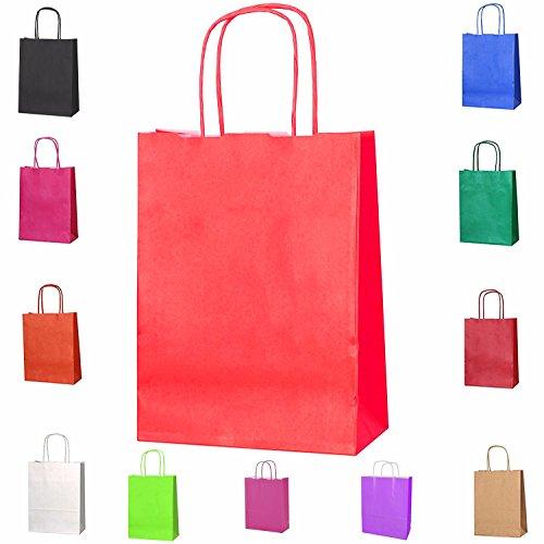 11x Farbige Twisted Papier Partytüten Geschenktüten mit Griffe xsmall180X 80X 240mm oder B 18x L 24x D 8cm oder W 7x l 9.44X D 8cm Geburtstag Weihnachten Hochzeitstag Kraft Staubbeutel, rot, W 7 x L 9.44 x D 3.14 Inches