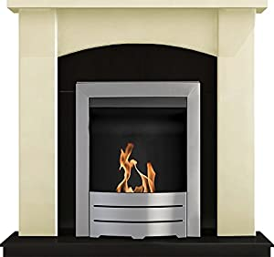 Adam Holden Fireplace Suite in Cream with Colorado Bio Ethanol Fire in Brushed Steel, 39 Inch