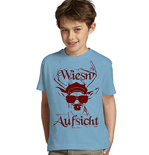 Kinder Jungen kurzarm Trachten T-Shirt Outfit zum Volksfest Oktoberfest Wiesn :-: Geburtstagsgeschenk Kids :-: Wiesn - Aufsicht :-: Geschenkidee Teenager :-: Farbe: hellblau Gr: 122/128