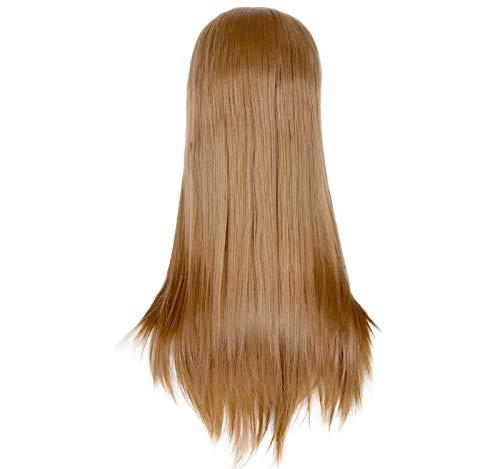GreatFun 24 Zoll Frauen Sexy Perücken Dame Volle Perücke Lange Seidige Gerade Braunes Haar Perücke Synthetische Lace Front Perücken Hitzebeständige PerückeNatürliche Farbe Täglichen Kleid
