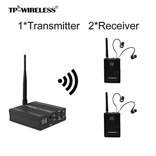 TP-WIRELESS 2.4GHz Professionelles digitales In-Ear Monitoring-System für Bühnen (1 Sender 2 Empfänger)