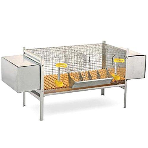 Preisvergleich Produktbild Hasenstall mit 2 Nestern – Käfig Zucht Kaninchen mit Tränken Futterhalter