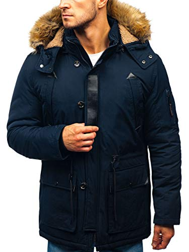 BOLF Herren Winterjacke Kapuze Wintermantel Parka Casual Style J.Boyz 1071 Dunkelblau M [4D4] | 05902646948591