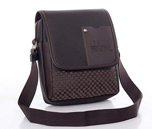 Minetom Herren Synthetisches Leder Tasche Handtasche Dokumentetasche Umhängetasche Schultertasche Aktentasche Kariert Messenger Bag Braun