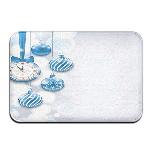 Nacasu Memory Foam Bath Mat Non Slip Absorbent Super Cozy Plush Bathroom Rug Carpet,New Year Theme A Clock and Glass Balls Illustration Christmas Decoration Pattern,Decor Door Mat 23.6 X 15.7 Inches