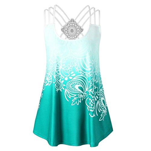 ESAILQ Damen T-Shirts Damen Sommer Uni Basic Kurzarm Tops Oberteil Leichtes mit Schnürung (XXL,Grün) -