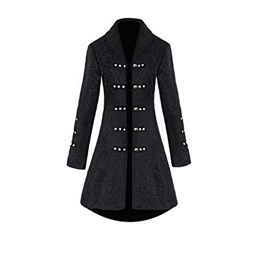 GJKK Lang Jacke Damen Mode Jacquard Blazer Punk Jacke Party Cosplay Langarm Retro Mantel mit Knopf Retro Hooded Fleece