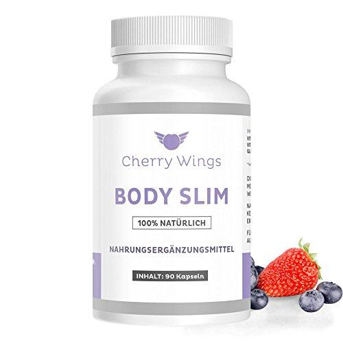 Cherry Wings Body Slim - Fatburner Tabletten mit hochdosiertem Glucomannan - 100% natürlicher Fettverbrenner für Gewichtsverlust - Schnell abnehmen mit Appetitzügler simpel zur Sommerfigur - 90 Kapseln