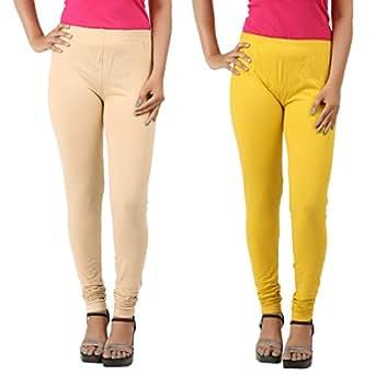 SHANGRI-LA Womens Beige Yellow Cotton Leggings(Pack of 2)