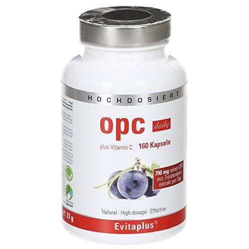 OPC DAILY Traubenkernextrakt – 160 hochdosierte, vegane OPC Kapseln 700 mg reines OPC pro Tag + 20 mg Vitamin C - 100% natürliches Antioxidans – Premiumqualität Deutscher Herstellung