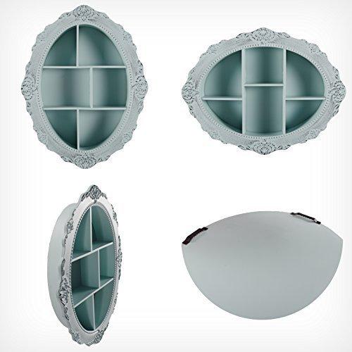 DRULINE Wandregal Barock Schmuckschrank Regal Aufbewahrung Vintage Shabby Chic Oval - Mint