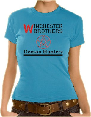 Supernatural - T-shirt da ragazza, con motivo Demon Hunters, XS-XL, diversi colori - Blu cielo