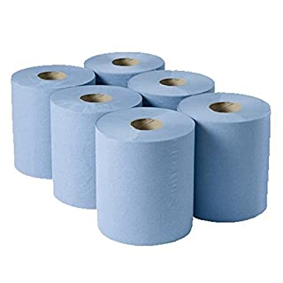 Contract Centrefeed Roll Blue 2 ply, 150m - Set of 6 - Large Roll of Disposable Blue Paper Hand Towels