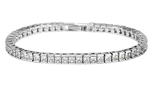 KnSam Damen Platin Plattiert Tennis Armreif Quadratische Form Weiß Crystal Zirkonia [Neuheit Armband]