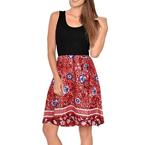 Kleider Sommer,Kleid Damen Elegant Frauen Rundhals Beiläufiges Ärmelloses Kleid Boho Print Pocket Swing Mini Tank Dress Von Evansamp(Rot,Xl) Mini-print-jersey