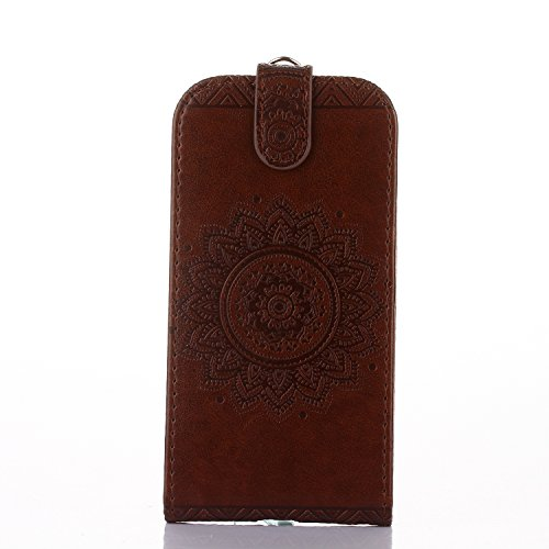 Samsung Galaxy Ace 4 Hülle Leder Tasche Flip Cover Samsung Galaxy Ace 4 Wallet Case Alfort Stilvoll Handycover Grün Mandala Blumen Muster PU Ledercase Brieftasche Handyhülle für Samsung Galaxy Ace 4 S Braun