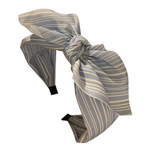 Frauen Stirnband Stoff Haarband Kopf Wickeln ZubehöR Süß Gestreifte Druckdekoration Kopfband Weich Turban FüR Alltag Hochzeit Schmuck Haare Stirnbänder (Einheitsgröße, Blau) ()