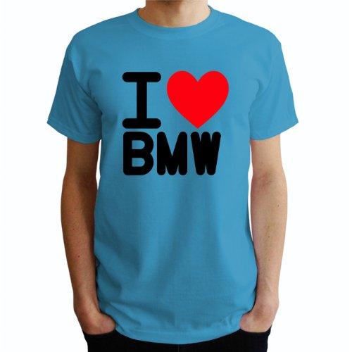 I love Bmw Herren T-Shirt Blau