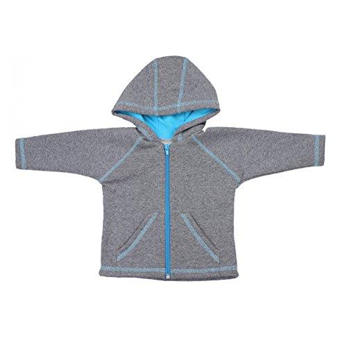 Baby Sweat Jacke mit Kapuze Jungen Kapuzenjacke Sweatjacke Mädchen Trainingsjacke Herbst Winter Warm, Farbe: Grau / Blau, Größe: 74