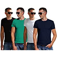 Joli and Bonito Men's Round Neck Half Sleeve Cotton Plain T Shirt - Set of 4