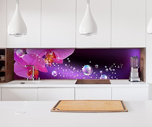 Aufkleber Küchenrückwand Orchidee Blume lila rosa Wasser Folie selbstklebend Dekofolie Fliesen Möbelfolie Spritzschutz 22A840, Höhe x Länge:60cm x 150cm (Lila Blumen-wand-aufkleber)
