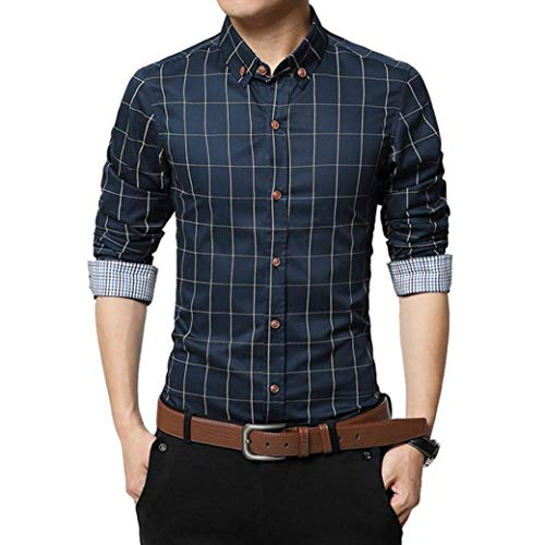 MRULIC Oktoberfest Herren Langarmshirt Kariert Shirt Button-down Hübsches T-Shirt(Marineblau,EU-46/CN-L) (Hip Hop Tanz Kostüm Für Jugendliche)
