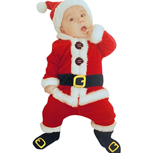 Baby Kinderbekleidung Softshell Overall Hirolan 4 Stück Säugling Kinder Sankt Weihnachten Strampelhöschen Lange Ärmel Tops + Plüschanzug Hosen + Hut + Socken Weich Rot Outfit Set Kostüm (70cm, Rot)