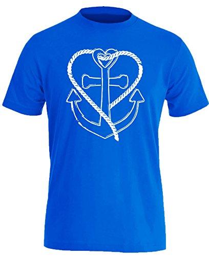 Anker mit Tau in Herzform - Herren Rundhals T-Shirt Royal/Weiss
