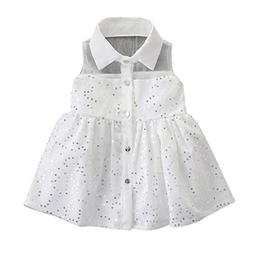 SANFASHION Baby Mädchen Prinzessin Kleid Neugeborene Kinder Kleidung Sleeveless Pailletten Prinzessin Party Tutu ()
