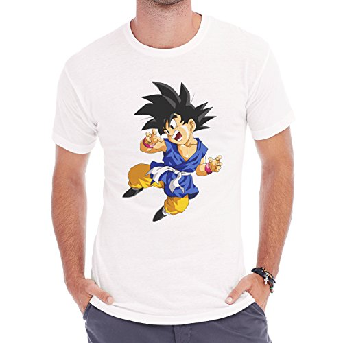 Dragon Ball Z Little Goku Flying Happy Herren T-Shirt Weiß