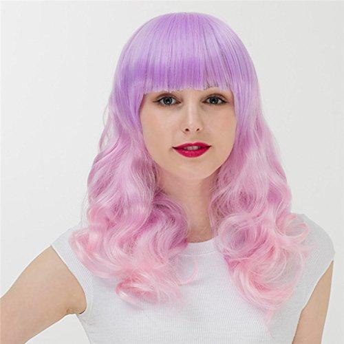 (Perücken Haarteile für Erwachsene Harajuku Farbverlauf Lange lockige Haare Hood Mädchen Anime COS (Color : Pink))