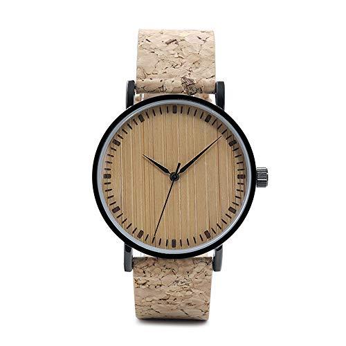 Herren Holzuhr Holz, Hölzerne Uhr Hölzerner Bügel Handgemachte Bambus Kork Analoge Quarzuhr Ursprüngliche Bewegung Männer und Frauen Uh