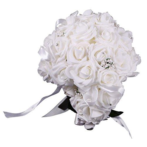 Magideal cristallo fiore damigella d'onore sposa bouquet di nozze bomboniere - bianca