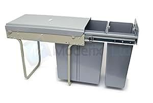 Poubelle 2 bacs 30L ( 10L+20L) coulissant pour meuble de cuisine 300mm